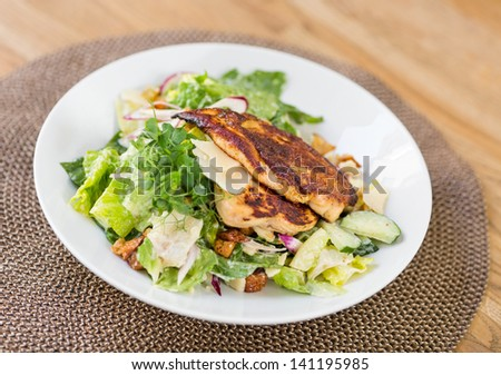 Closeup of chicken caesar salad with vegetables on plate - stock photo