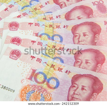 Closeup of china one hundred yuan - stock photo