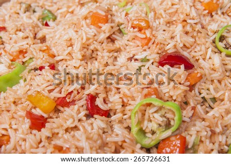 Closeup of chinese vegetable fried rice on display at a hotel restaurant buffet