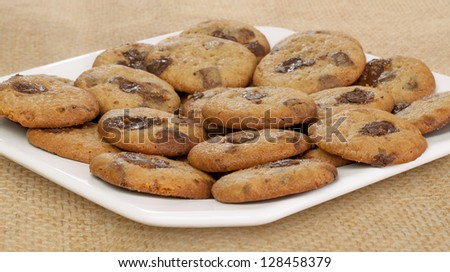 Closeup of Chocolate Chip Cookies on table