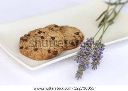 Closeup of chocolate chip cookies with lavender taken in natural light. - stock photo