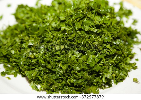 Closeup of chopped parsley with selective focus - stock photo