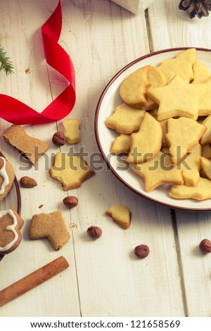 Closeup of Christmas cookies on a plate