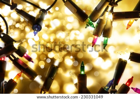 Closeup of Christmas lights glowing  - stock photo