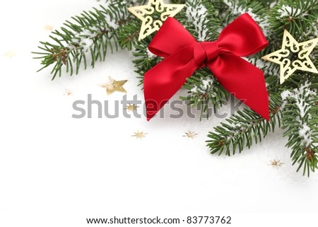 Closeup of Christmas Ornaments on White. - stock photo