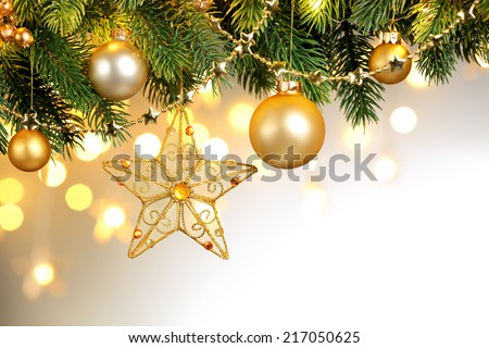 Closeup of Christmas tree decorations - stock photo