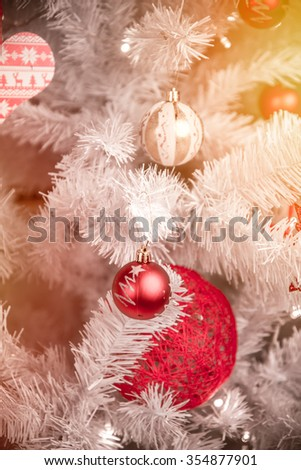 Closeup of Christmas tree decorations.