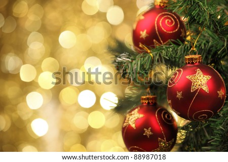 Closeup of Christmas-tree decorations. - stock photo