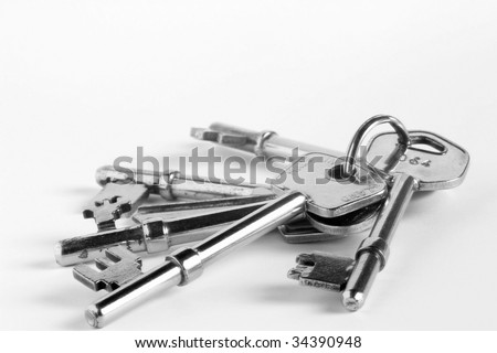 Closeup of chrome plated bunch of keys