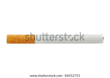 closeup of  cigarette  isolated on white background - stock photo