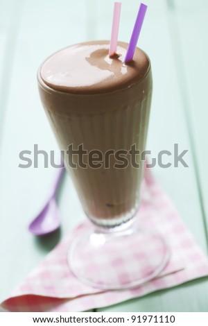closeup of classic chocolate milkshake - stock photo