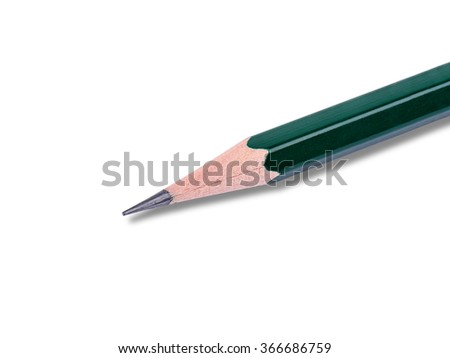 Closeup of classic wooden pencil with light shadow.  Image is isolated on white and the file includes a clipping path.