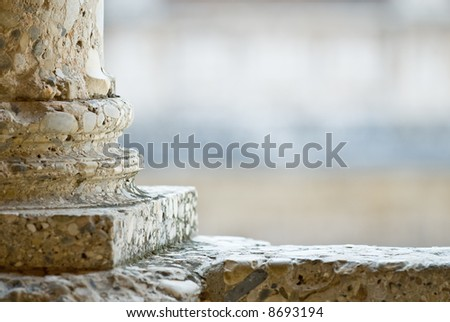 Closeup of classical roman column, copy space - stock photo