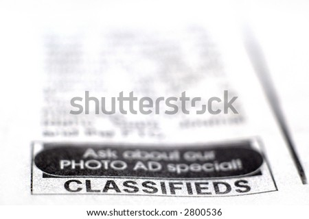 Closeup of Classifieds Section in Newspaper - stock photo