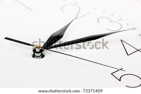 Closeup of clock face. Quarter past two. - stock photo