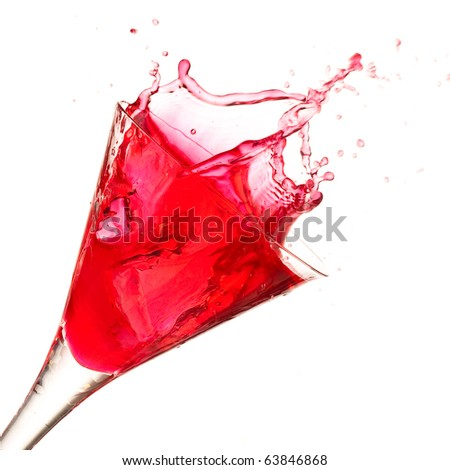 closeup of cocktail splash on a white background - stock photo