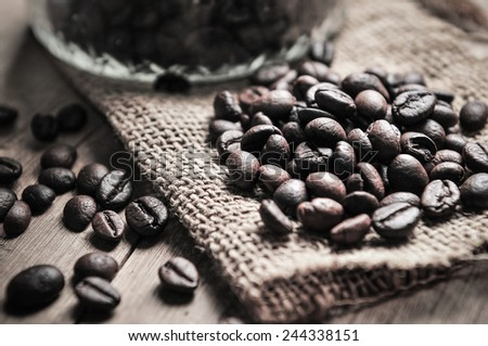 closeup of coffee beans on sackcloth