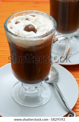Closeup of coffee with cream (Caffe Borgia) in tall glasses