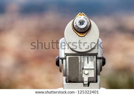 Closeup of coin operated telescope. - stock photo