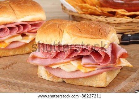 Closeup of cold cut sandwich with salami, ham, cheese and bologna