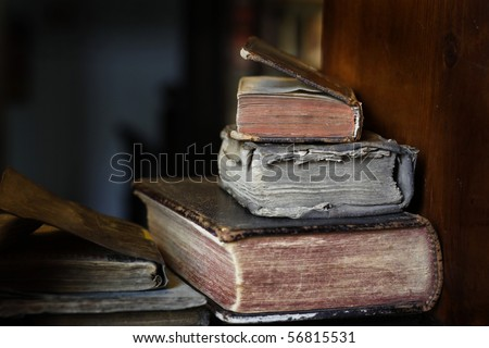 Closeup of colorful antique books. - stock photo