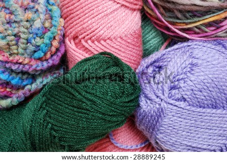 Closeup of colorful balls of yarn