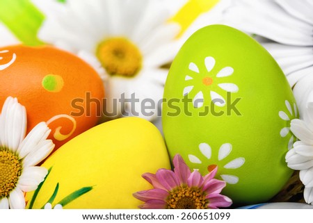 Closeup of colorful, bright Easter eggs and white spring flowers, studio shot - stock photo