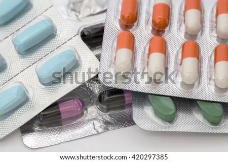 Closeup of colorful pills - stock photo