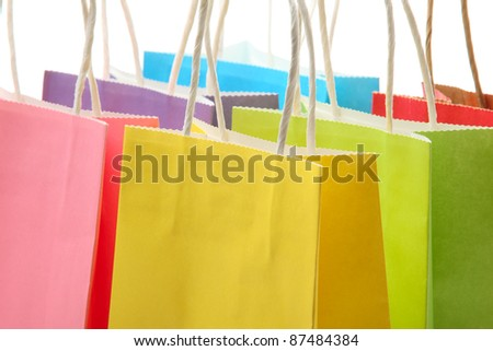 Closeup of colorful shopping bags - stock photo