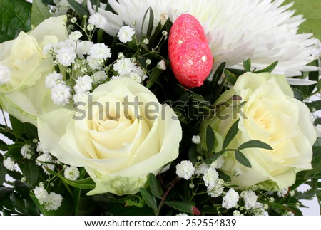 closeup of colorful spring flowers bouquet