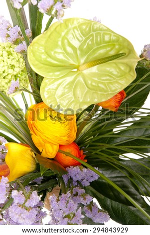 closeup of colorful spring flowers bouquet - stock photo