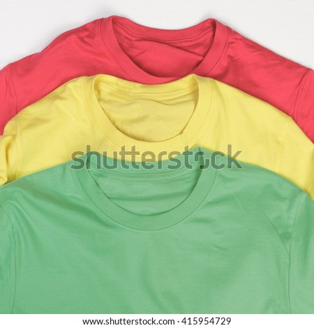 Closeup of colorful t-shirts