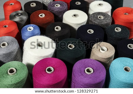 closeup of colorful threads - stock photo