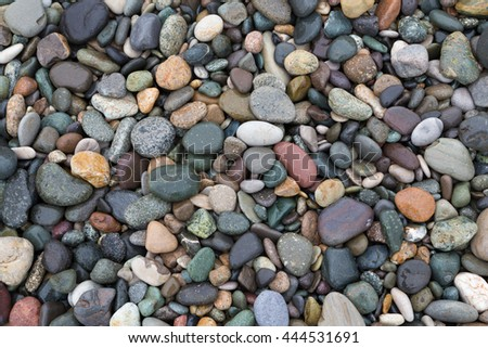 Closeup of colorful wet pebbles on the beach, natural background. - stock photo