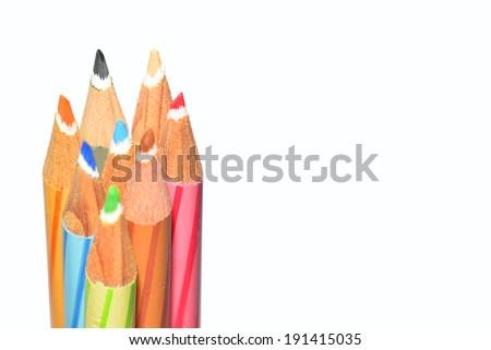 Closeup of colorful wooden crayon tips - stock photo