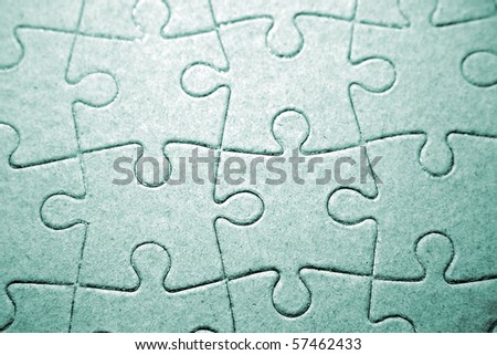 Closeup of complete jigsaw puzzle - stock photo