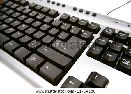 Closeup of computer keyboard - stock photo