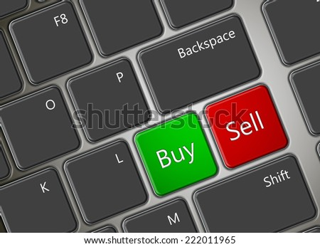 closeup of computer keyboard with buy and sell buttons - stock photo