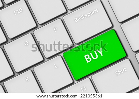 closeup of computer keyboard with green buy key - stock photo