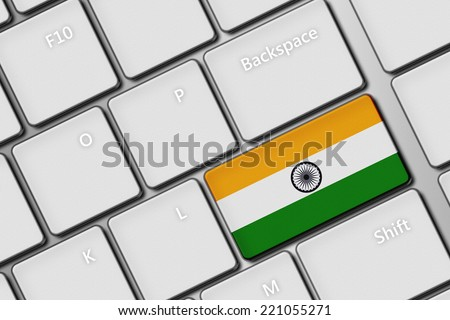 closeup of computer keyboard with indian flag button - stock photo