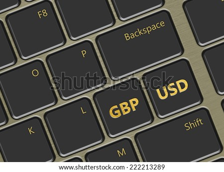 closeup of computer keyboard with pound and dollar buttons - stock photo