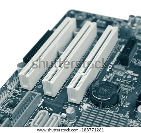 Closeup of computer motherboard circuit board  - stock photo