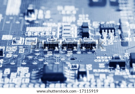 Closeup of computer motherboard with details - stock photo