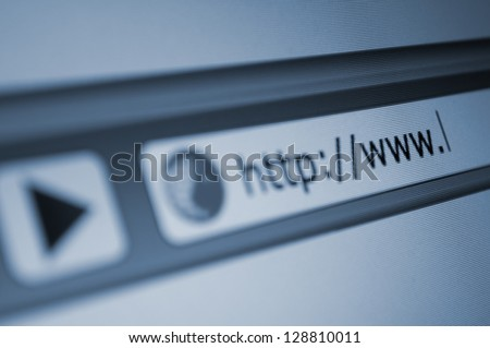 Closeup of Computer Screen With Address Bar of Web Browser - stock photo