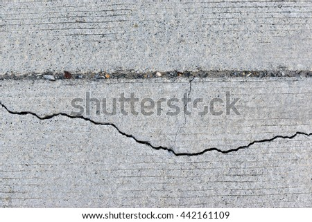 closeup of concrete road with  crack.