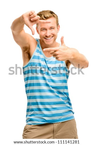 Closeup of confident happy man framing photograph white background