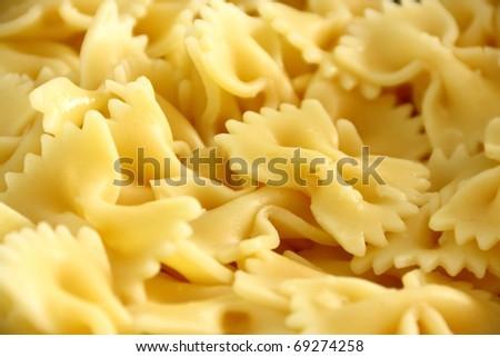 Closeup of cooked italian pasta - farfalle - stock photo