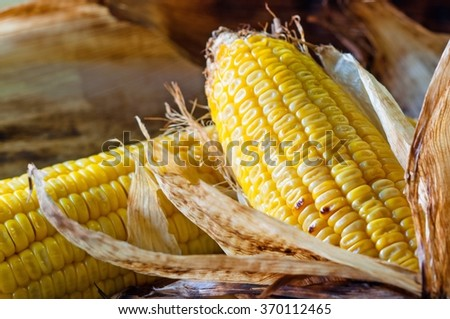 Closeup of Corn grill on burlap background. Food of Thailand. - stock photo