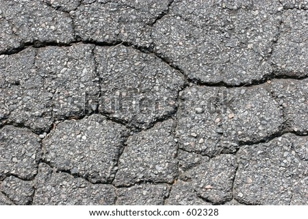 CLoseup of cracked asphalt surface. - stock photo