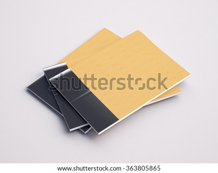 Closeup of craft notebooks on the white background. 3d render - stock photo